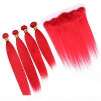 """페루 밝은 붉은 인간의 머리카락 4 번들 정면 폐쇄 붉은 색 똑 바른 버진 머리 레이스 정면 13x4 """"와 짜여진 빨간 공동"""