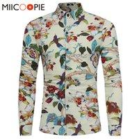 Primavera otoño ropa de cama camisas de lujo floral animal impresión con estilo manga larga casual hawaii camisa hombres xxxl kg-20