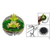 Lindo tono de oro rana verde bolso bolso bolsa de mano soporte de gancho gancho plegable ganchos rieles HWD6947