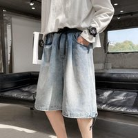 Men's Jeans Wide Leg Mens Retro Drawstring Straight Shorts Loose Washed Oversize Overalls Trend Casual Five-point Pants Thin Plus Size