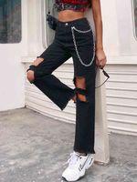 2021 Femmes Trou Sexy Heart Jeans High Taille Side Taille Chaîne en métal Pantalons Pantalon Pantalon Couleur Solide Couleur Denim Pantalon déchiré