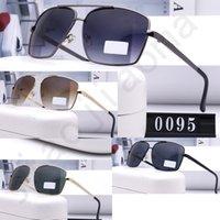 Gafas de sol Mens Designer Brown Brown Lente transparente Sin marco Deportes Actitud Conducción Vidrio Lujo Sunglaseses