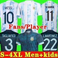 2020 2021 Arjantin futbol Forması 20 21 Copa evden uzak futbol forması MESSI DYBALA AGUERO LO CELSO MARTINEZ TAGLIAFICO Erkekler Çocuk kiti üniformaları
