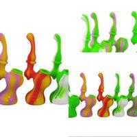 Mini Sherlock Bubbler Tragbare Silikon-Wasserleitungen Wasserbongs Raucher Rohre Tabakpfeife Für Trockenkräuter Twisty Glas Blunt 343 V2