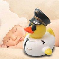 아기 목욕 경찰 오리 선글라스 고무 샤워 물 장난감 풀 부동 아이 인형 수영 여름 욕실 놀이 장식 Y0809