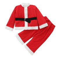 Christmas Girls Outfits Boys Kids Clothing Sets Baby Clothes Children Suits Long Sleeve Coat Tops Pants Trousers 2Pcs B8487