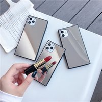 Square Mirror Protective Cases For iphone 12 MINI 11 Pro X XS MAX XR 8 7 Plus Cell Phone Case Back Cover 100pcs
