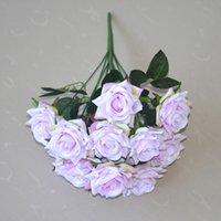 12 têtes artificielles roses fleurs bouquet de soie roses de soie pour la maison de mariée de mariée festival du festival de la fête de mariée et rose gga4357