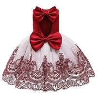 Girl's Dresses Baby Girl Bowknot Princess Dress Wedding Gown Kids For Girls Birthday Party Year Children Clothing Vestidos 2T
