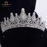 Высочайшее качество невесты потрясающие европейские Zircon Tiaras Crouns Crystal Firsts Свадебные аксессуары для волос