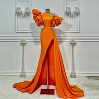 Orange One Shoulder Prom Dresses 2021 Summer Puff Short Sleeves Sexy Side Slit Evening Dress Satin Cocktail Party Gowns