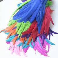ريش الديك المصبوغ 9.85- 17.71 بوصة أو 25 إلى 45 سم مختلف الألوان الذيل الريشة المواد الحرفية