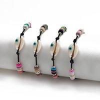 S2331 Bohemian Fashion Jewelry Strands Couple Bracelet Blue Eye Handmade Beach Shell Soft Pottery Beads Bracelets