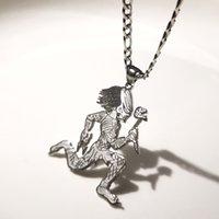 Grand 2 '' Juggalo Predator Charm En acier inoxydable Pendentif Collier Pendentif Collier Collier de bordure 5mm 24 pouces pour les cadeaux pour hommes