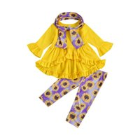 Clothing Sets OPPERIAYA Kids Toddler Baby Girls Autumn Casual Outfit Long Sleeve Solid Color Ruffle Round Neck Tops Flower Print Pant Scarf