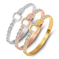 Bangle Titanium Steel Bracelet, Full Diamond Buckle Gold Stainless Jewelry, Ladies Jewelry