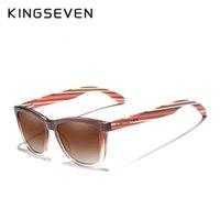 نظارات شمسية Kingseven جديد تتجه تصميم الأزياء النسائية التدرج متعدد الألوان الخشب الطبيعي مرآة UV400 عدسة OCULO3E69