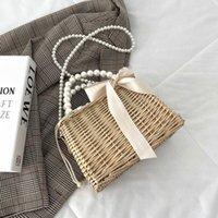 Evening Bags Pearl Bow Straw Shoulder For Women 2021 Summer Hand Woven Rattan Handmade Purse Wicker Beach Bag Handbag Crossbody