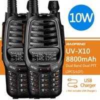 Baofeng uv-x10 10w 8800mAh banda dupla vhf uhf usb carregador walkie talkie 30km ham cb 2 vias rádio transceptor portátil UV-5R