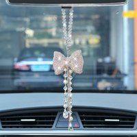 Interior Decorations Diamond Car Pendant Crystal Bow Tie Rearview Mirror Hanging Chain Ornaments For Lady Female Lanyard Decoration