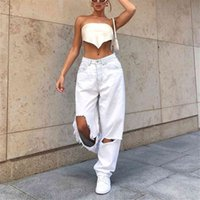 Ripped Hole High Waist Jeans Women Button Pocket Elastic Hole Jeans Trousers Loose Denim Pants Vintage Jeans Bottom Skinny #TG3 Y0320