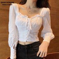 Kadın Bluzlar Gömlek Qiukichonson Vintage Frilly Kare Boyun Puf Kol Bluz Kadınlar Bahar Uzun Kırpma Üstleri Dantel-Up Düğme Yukarı Beyaz