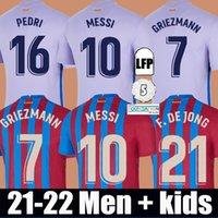 Camisas de futebol MESSI Barcelona BARCA FC 21 22 PEDRI ANSU FATI 2021 2022 GRIEZMANN F.DE JONG KUN AGUERO Emerson Eric malhas kit camisa homem crianças conjuntos meias