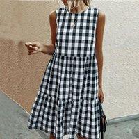 Casual Dresses For Women Summer Loose Plaid Print Ruffled Midi Dress Sleeveless Vintage Ladies Vacation Sundress 2021