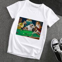 Spoof Dogs Gioca a Biliardo Mens T-shirt e Donne Stampa Grafica divertente Grafica Harajuku Casual Abbigliamento femminile Tee