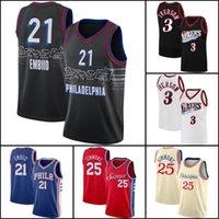 Allen 3 Iverson Basketball Jersey Filadelfia76ersJerseys Ben 25 Simmons Jersey Joel 21 Embiid Jerseys Baloncesto Uniforme VB41
