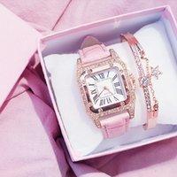 Tasarımcı Lüks Marka Saatler Kadınlar ES Bilezik Seti Yıldızlı Gökyüzü Bayanlar Rahat Deri Kuvars Bilek Saati Relogio Feminino