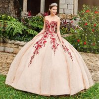 Sparkly Lace Appliqued Ball Gown Quinceanera Dresses Sequined Sweetheart Neck Beaded Prom Gowns Floor Length Tulle Sweet 15 Masquerade Dress