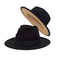 Klassischer Fedora-Hut für Frauen Breitrand Filz Hut Kleid Panama Zwei Ton Schwarz Khaki Männer Winter Britischer Stil Trilby Jazzkappen