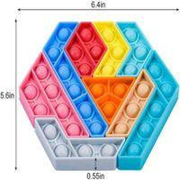 Rainbow fidget sensory bubbles popper jigsaw push pop bubble tangram puzzle Toys Tiktok new fingertip desktop parent child game shapes changing G61TSQQ