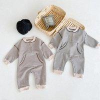 Jumpsuits Baby Boys Romper Stripe Born Clothes Big Pocket Toddler Infant Jumpsuit Loose Cotton Little Kids Playsuit Overalls