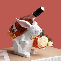 أرنب الراتنج التماثيل رف حامل النبيذ حامل للمنزل الديكور تمثال غرفة المعيشة ديكور النحت مكتب زخرفة الحرفية