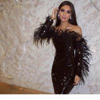 2020 New Sparkling Black Sequined Evening Dresses With Feathers Sexy Long Sleeve Party Dresses Short Cocktail Dress Off Shoulder Formal Gown
