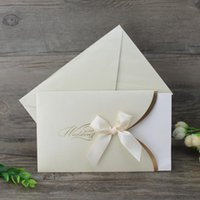 50Pcs Beige Paper Blank Wedding Invitation Card With Envelope Ribbon Folding Type Marriage Invitations Custom Printing Greeting Cards