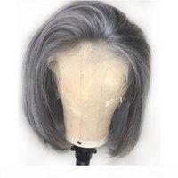 Gri İnsan Saç Dantel Ön Peruk Tutkalsız Brezilyalı Gri Ön Kopardı Tam Dantel Peruk Gümüş Kısa Bob Kesim Dantel Ön Peruk Ücretsiz Bölüm