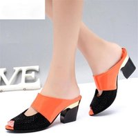 Sandals 2021 Fashion Women Summer Patent Leather Sexy Peep Toe Cut Out High Heels Flip Flops Female Party Shoes Woman