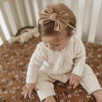 Akcesoria do włosów Dziewczynka Pałąk Born Dzianiny Headwrap Infant Top Knot Girls Bow Soft 15 Kolory JFNY162