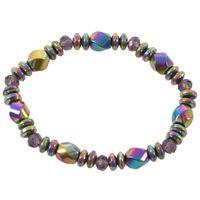 للجنسين وضع متعدد الألوان سوار المغناطيسي الخرز الحجر الهيماتيتي للعلاج الرعاية الصحية مجوهرات colorfur مطرز، فروع