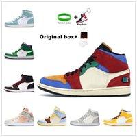 [Avec encadré][상자 포함] Air Jordan 1 retro jordans Nouveau OG 1S Basketball Chaussures Hommes Femmes Bred Toe Black Green jeu Royal Jumpman UNC Patent Court Purple Chicago Fragment