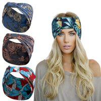 Esporte largo headbands impressão floral bowknot yoga estiramento envoltório hairband hoops para mulheres faixas de cabeça moda