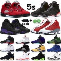 air jordan 5 6 Hombres Zapatillas de baloncesto 5 Criado Vuelo Internacional Azul Rojo Gamuza Blanco Cemento OG Metallic Negro Diseñador Sport Sneaker Tamaño