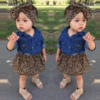 Ins leopard Girls Outfits baby girl suit 3pcs set denim shirt+Skirt+bows headband Kids Sets girls Dress Suits kids designer clothes A47406AWT