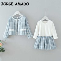 Spring Kids Girls 2-pcs Sets Blue Pink Long Sleeves Dress + Plaid Coat Lady Style Pageant Formal Outfits Party E137 210610