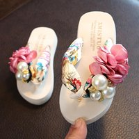 Slipper Pearl Flower Baby Slippers For Kids Boys Girls Flip Flops Summer Beach Sandals Teen House Children Casual Shoes