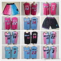 "Mens Miami ""Heats"" Jerseys Dwyane 3 Wade Tyler 14 Herro Jimmy 22 Butler Basketball Shorts Basquete Jerseys Rosa Black"