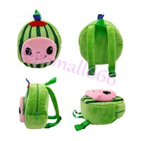 Cute Plush Toddler Kids Cartoon School Bags JoJo Cocomelon Backpack Soft Watermelon Dolls For Children Students Birthday Gifts